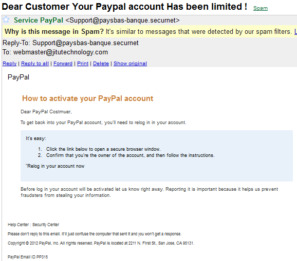 Spam/Phishing email for PayPal